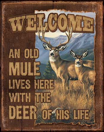 Terry Redlin Tin Sign - An Old Mule Lives Here
