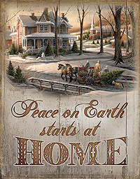 Tin Sign - Peace on Earth starts at Home