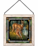 Stained Glass Art - Birch Creek - Deer