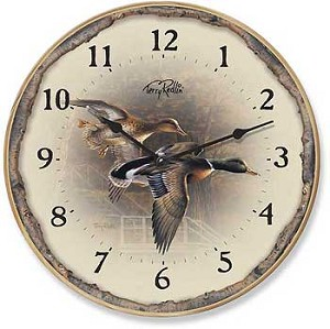 Wall Clock - Autumn Shoreline: Mallard Ducks