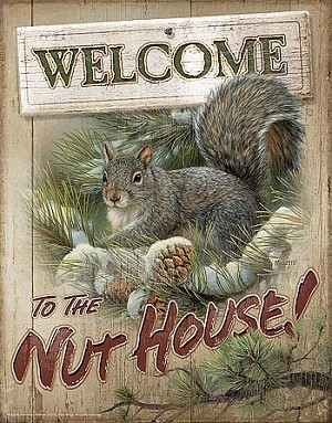 Terry Redlin Tin Sign - Welcome to the Nuthouse